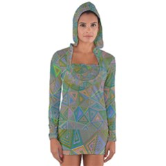 Triangle Background Abstract Long Sleeve Hooded T Shirt