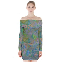 Triangle Background Abstract Long Sleeve Off Shoulder Dress
