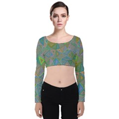 Triangle Background Abstract Velvet Long Sleeve Crop Top