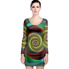 Spiral Vortex Fractal Render Swirl Long Sleeve Bodycon Dress