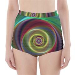 Spiral Vortex Fractal Render Swirl High Waisted Bikini Bottoms