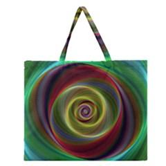 Spiral Vortex Fractal Render Swirl Zipper Large Tote Bag