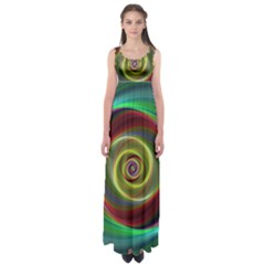 Spiral Vortex Fractal Render Swirl Empire Waist Maxi Dress
