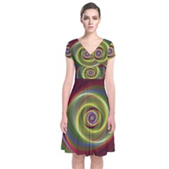 Spiral Vortex Fractal Render Swirl Short Sleeve Front Wrap Dress