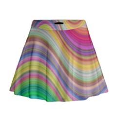Wave Background Happy Design Mini Flare Skirt