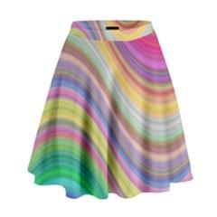 Wave Background Happy Design High Waist Skirt