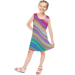 Wave Background Happy Design Kids  Tunic Dress