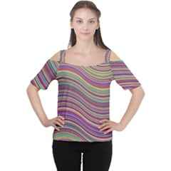 Wave Abstract Happy Background Cutout Shoulder Tee