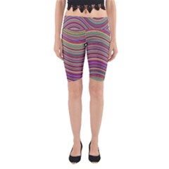 Wave Abstract Happy Background Yoga Cropped Leggings