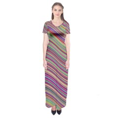 Wave Abstract Happy Background Short Sleeve Maxi Dress