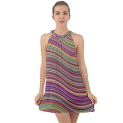 Wave Abstract Happy Background Halter Tie Back Chiffon Dress