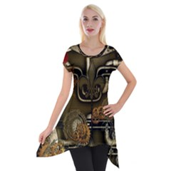 Wonderful Noble Steampunk Design, Clocks And Gears And Butterflies Short Sleeve Side Drop Tunic