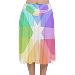 Heart Love Wedding Valentine Day Velvet Flared Midi Skirt