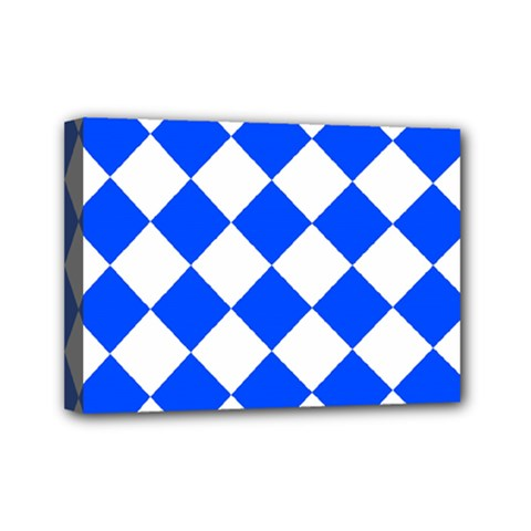 Blue White Diamonds Seamless Mini Canvas 7  X 5