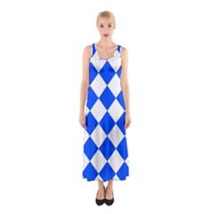 Blue White Diamonds Seamless Sleeveless Maxi Dress