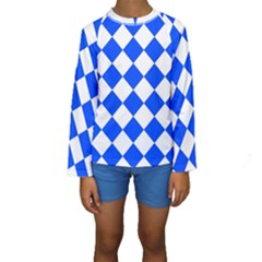 Blue White Diamonds Seamless Kids  Long Sleeve Swimwear