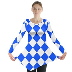 Blue White Diamonds Seamless Long Sleeve Tunic