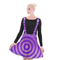 Circle Target Focus Concentric Suspender Skater Skirt