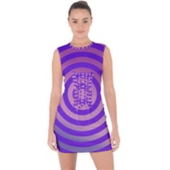 Circle Target Focus Concentric Lace Up Front Bodycon Dress