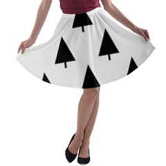 Scrap Background Spruce Christmas A Line Skater Skirt