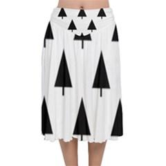 Scrap Background Spruce Christmas Velvet Flared Midi Skirt