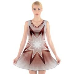 Star Christmas Festival Decoration V Neck Sleeveless Skater Dress