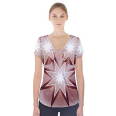 Star Christmas Festival Decoration Short Sleeve Front Detail Top