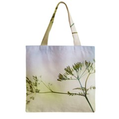 Spring Plant Nature Blue Green Zipper Grocery Tote Bag