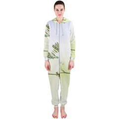 Spring Plant Nature Blue Green Hooded Jumpsuit (ladies)
