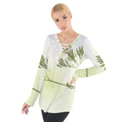 Spring Plant Nature Blue Green Tie Up Tee