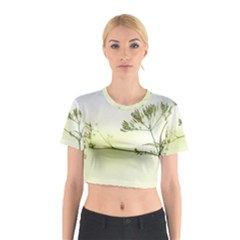 Spring Plant Nature Blue Green Cotton Crop Top