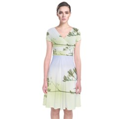 Spring Plant Nature Blue Green Short Sleeve Front Wrap Dress