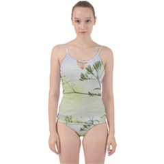 Spring Plant Nature Blue Green Cut Out Top Tankini Set