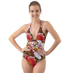Flower Hostanamone Drawing Plant Halter Cut Out One Piece Swimsuit
