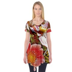 Flower Hostanamone Drawing Plant Short Sleeve Tunic