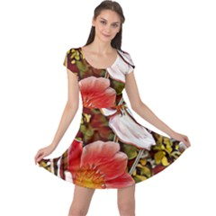 Flower Hostanamone Drawing Plant Cap Sleeve Dress