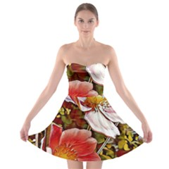 Flower Hostanamone Drawing Plant Strapless Bra Top Dress