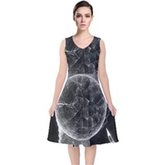 Space Universe Earth Rocket V Neck Midi Sleeveless Dress