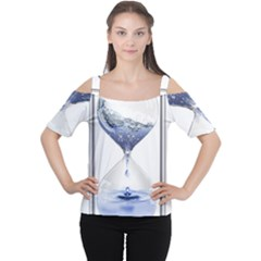 Time Water Movement Drop Of Water Cutout Shoulder Tee