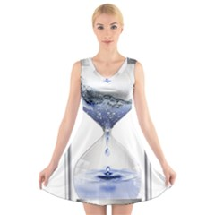 Time Water Movement Drop Of Water V Neck Sleeveless Skater Dress