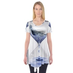 Time Water Movement Drop Of Water Short Sleeve Tunic