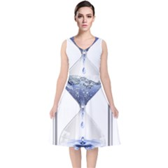 Time Water Movement Drop Of Water V Neck Midi Sleeveless Dress