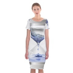 Time Water Movement Drop Of Water Classic Short Sleeve Midi Dress
