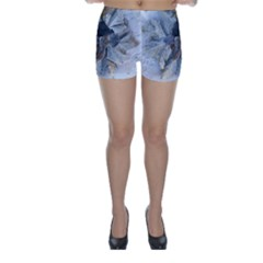 Winter Frost Ice Sheet Leaves Skinny Shorts