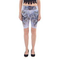 Winter Frost Ice Sheet Leaves Yoga Cropped Leggings