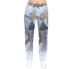 Winter Frost Ice Sheet Leaves Drawstring Pants