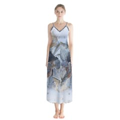 Winter Frost Ice Sheet Leaves Button Up Chiffon Maxi Dress