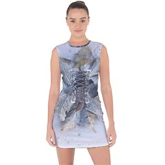 Winter Frost Ice Sheet Leaves Lace Up Front Bodycon Dress