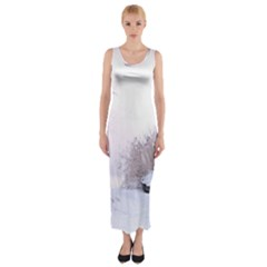 Winter Snow Ice Freezing Frozen Fitted Maxi Dress