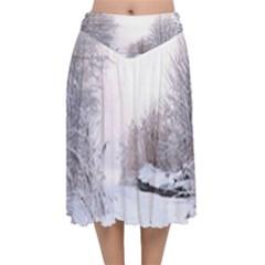 Winter Snow Ice Freezing Frozen Velvet Flared Midi Skirt